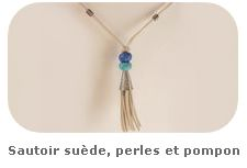 Sautoir suède, perles et pompon